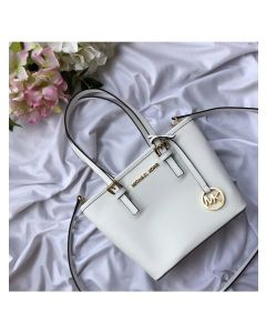 MICHAEL Michael Kors Jet Set Travel Mini Saffiano Leather Top-Zip Tote White