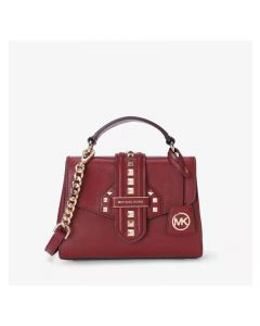 MICHAEL Michael Kors Bleecker Small Studded Crossgrain Leather Satchel Burgundy