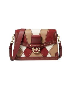 MICHAEL Michael Kors Jessie Large Suede and Leather Patchwork Shoulder Bag Burgundy