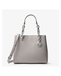 MICHAEL Michael Kors Cynthia Small Leather Satchel Grey
