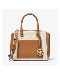MICHAEL Michael Kors Park Medium Logo and Leather Satchel White