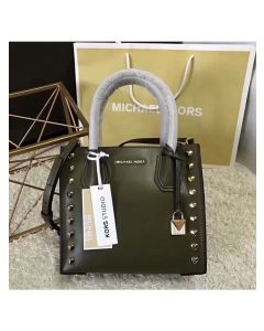 MICHAEL Michael Kors Mercer Heart Studded Leather Tote Olive