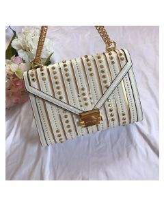 MICHAEL Michael Kors Whitney Large Studded Leather Convertible Shoulder Bag White