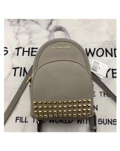 MICHAEL Michael Kors Abbey Extra-Small Studded Leather Backpack Grey