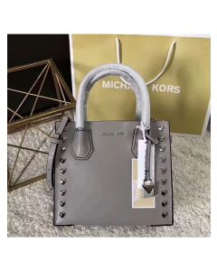 MICHAEL Michael Kors Mercer Heart Studded Leather Tote Grey