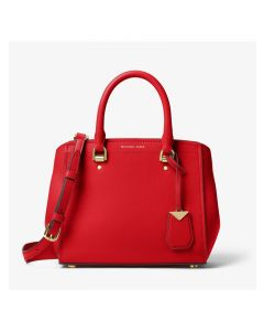 MICHAEL Michael Kors Benning Medium Leather Satchel Red