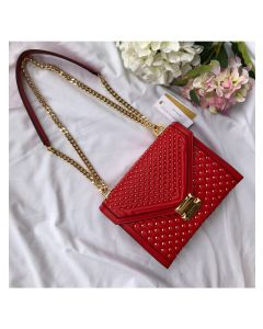 MICHAEL Michael Kors Whitney Large Studded Leather Shoulder Bag Red