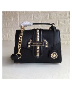 MICHAEL Michael Kors Bleecker Small Studded Crossgrain Leather Satchel Black