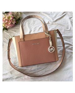 MICHAEL Michael Kors Gemma Two-Tone Pebbled Leather Pocket Crossbody Bag Pink/Apricot