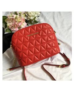 MICHAEL Michael Kors Cindy Large Leather Dome Crossbody Bag Red