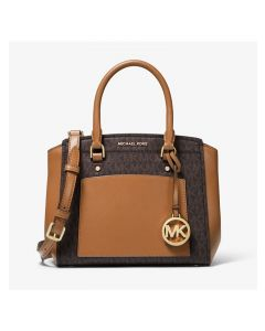 MICHAEL Michael Kors Park Medium Logo and Leather Satchel Brown