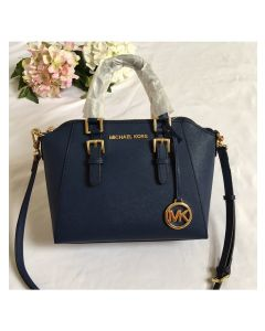 MICHAEL Michael Kors Ciara Small Saffiano Leather Satchel Navy Blue