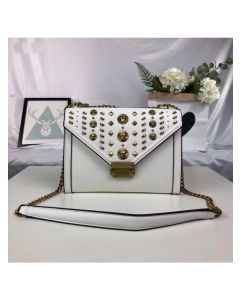 MICHAEL Michael Kors Whitney Studded Leather Convertible Shoulder Bag White