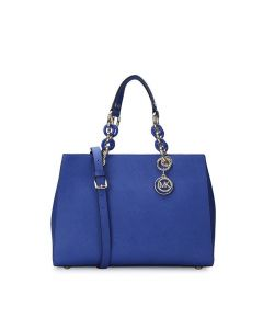 MICHAEL Michael Kors Cynthia Saffiano Leather Satchel Blue