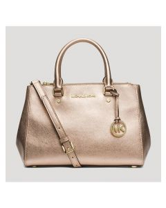 MICHAEL Michael Kors Sutton Medium Saffiano Leather Satchel Gold