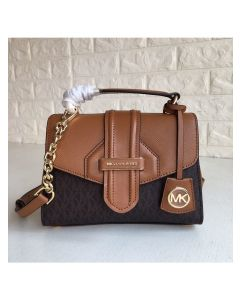 MICHAEL Michael Kors Bleecker Small Logo and Leather Satchel Brown