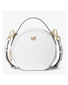 MICHAEL Michael Kors Delaney Medium Leather Canteen Crossbody Bag White