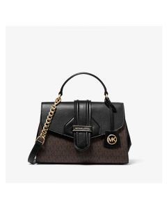 MICHAEL Michael Kors Bleecker Small Logo and Leather Satchel Black
