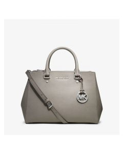 MICHAEL Michael Kors Sutton Medium Saffiano Leather Satchel Grey