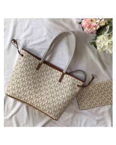 MICHAEL Michael Kors Voyager Large Logo Pebbled Leather Tote White