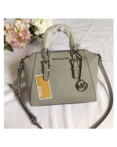 MICHAEL Michael Kors Ciara Small Saffiano Leather Satchel Light Grey