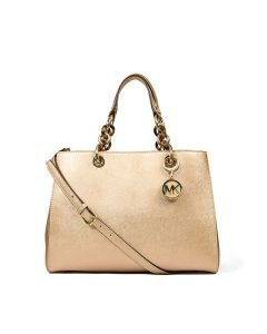 MICHAEL Michael Kors Cynthia Saffiano Leather Satchel Gold