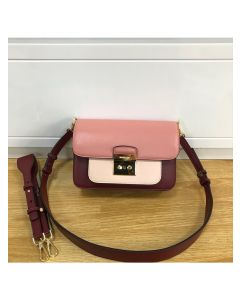 MICHAEL Michael Kors Sloan Editor Color-Block Leather Shoulder Bag Burgundy/Pink