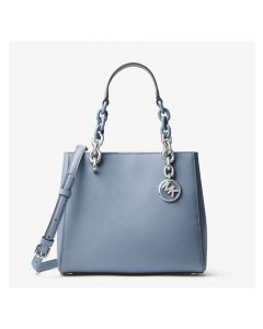 MICHAEL Michael Kors Cynthia Small Leather Satchel Sky Blue