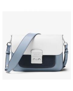 MICHAEL Michael Kors Sloan Editor Color-Block Leather Shoulder Bag Sky Blue/White