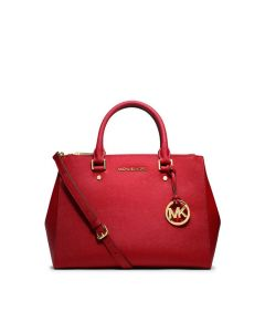 MICHAEL Michael Kors Sutton Medium Saffiano Leather Satchel Red