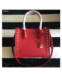 MICHAEL Michael Kors Mercer Heart Studded Leather Tote Red