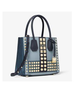 MICHAEL Michael Kors Mercer Medium Studded Leather Accordion Crossbody Bag Blue