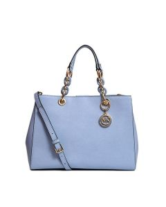 MICHAEL Michael Kors Cynthia Saffiano Leather Satchel Sky Blue